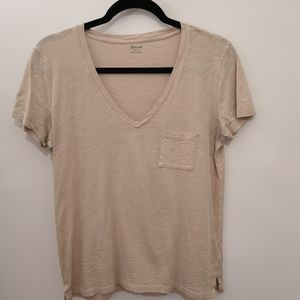 Madewell V-Neck Pocket Basic Tan/Beige T-shirt Tee